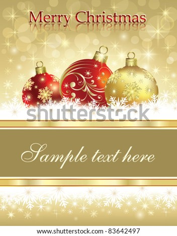 Christmas greeting card with balls over blue background - stock vector