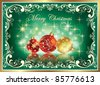 Christmas greeting card with balls over green background - stock photo