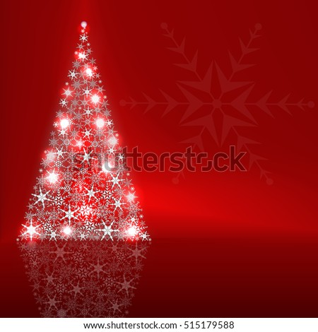 Christmas Greeting Card  With Big Free Space For Your Advertising Or Your Message. Vector illustration of abstract Christmas tree on a red background.