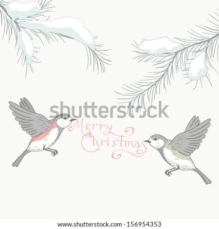 Christmas greeting card birds hand draw stock vector 156954353 christmas greeting card with birds hand draw background with holiday winter design m4hsunfo
