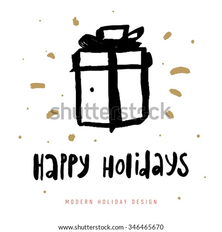 Christmas greeting card with calligraphy elements. Hand Drawn Design and Handwritten Lettering. Holiday Vector Illustration for Xmas Cards. - stock vector