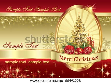 christmas greeting card with candle - stock vector