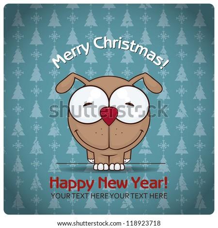 Christmas greeting card with cartoon doggy. Vector illustration - stock vector