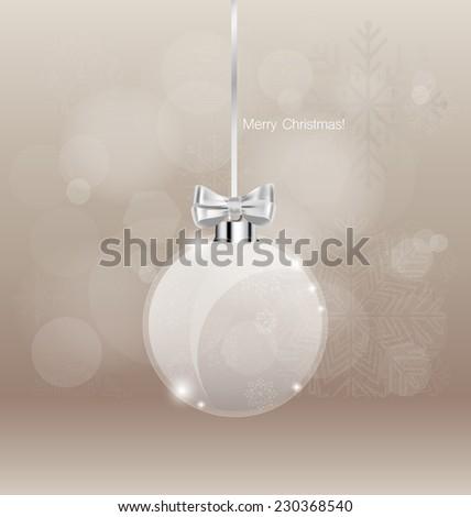 Christmas greeting card with Christmas ball, vector illustration. - stock vector