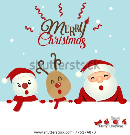 Christmas greeting card christmas santa claus stock vector 775174873 christmas greeting card with christmas santa claus snowman and reindeer vector illustration m4hsunfo