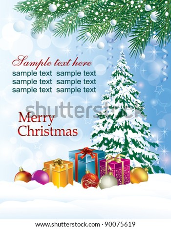 Christmas greeting card with christmas tree and present box - stock vector