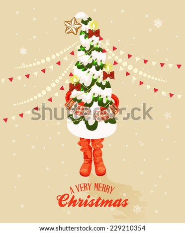 Christmas greeting card with Christmas tree in retro style. Happy new year - stock vector