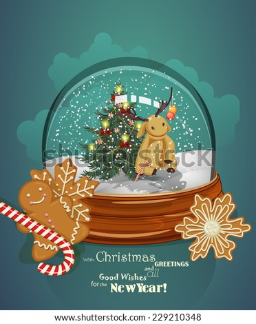 Christmas greeting card with Christmas tree in sphere in retro style. Happy new year - stock vector