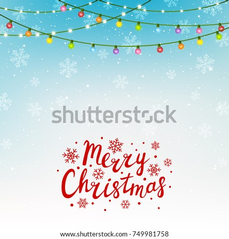 christmas greeting card with color light bulbs