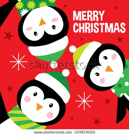 christmas greeting card with cute penguins suitable for your kids christmas greeting card - stock vector