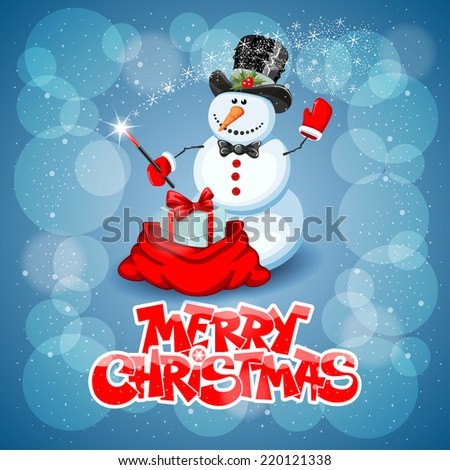 Christmas greeting card with cute snowman wizard on magic background - stock vector