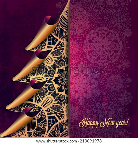 Christmas greeting card with decorative tree from lace. For gifts, decoration and invitations for your design. With a place for you inscription. - stock vector