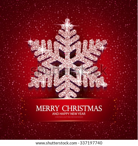 Christmas Greeting Card with Diamond Shining Snowflake. Elegant Winter Design.  Vector illustration - stock vector