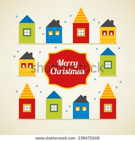 Christmas greeting card with different houses in Red, Yellow, Green and Blue colors. Perfect for Christmas invitation, holiday background. Flat design vector illustration - stock vector
