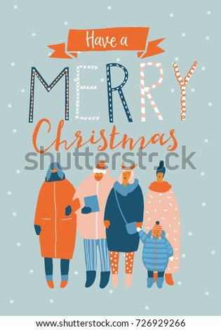 Christmas greeting card family choir singing stock vector 2018 christmas greeting card with family choir singing holiday song winter posters and cards collection m4hsunfo