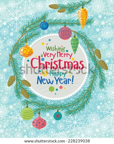 Christmas Greeting Card With Fir Branches - stock vector