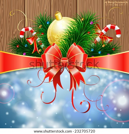 Christmas Greeting Card with Fir Branches, Candy, Bauble and Streamer on Wooden Boards background, vector illustration. - stock vector