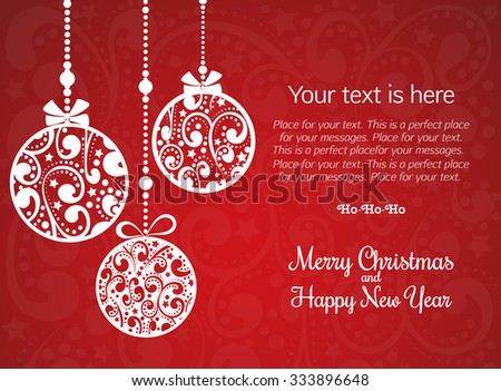 Christmas Greeting Card  with flat decorations. Vector Illustration