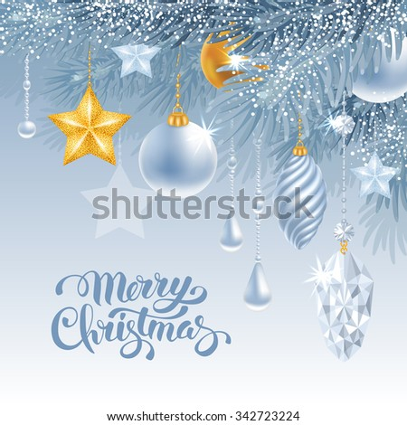 Christmas greeting card with frozen spruce branches and different christmas decorations. Calligraphic lettering Merry Christmas on blue background. Vector illustration. - stock vector