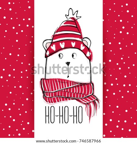 Christmas greeting card funny bear hand stock vector 746587966 christmas greeting card with funny bear hand drawn vector teddy with red sweater scarf m4hsunfo