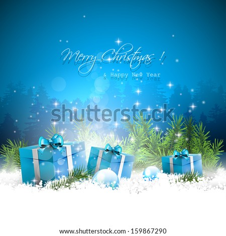 Christmas greeting card with gift boxes and branches in snow - stock vector