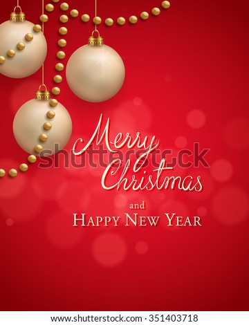 Christmas greeting card with gold balls and garlands on red background. - stock vector