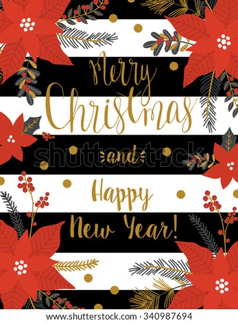 Christmas Greeting Card with holly jolly. Merry Christmas lettering. Template for New 2016 Year Cards, Scrapbooking, Stickers, Planner, Invitations. - stock vector