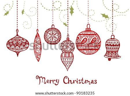 Christmas greeting card with   original hand-drawn inscription - stock vector