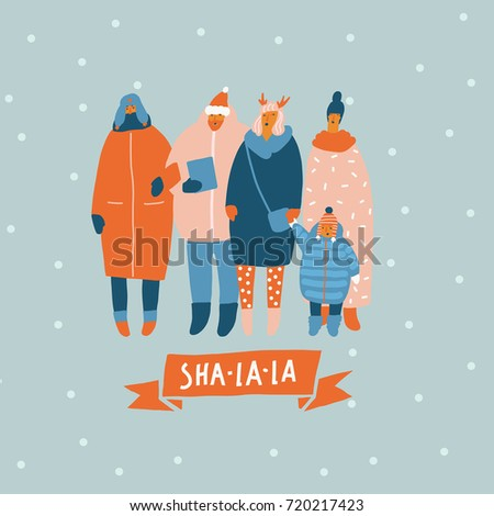 Christmas greeting card people singing song stock vector 720217423 christmas greeting card with people singing the song on the street m4hsunfo Images
