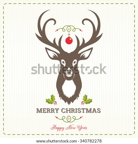 Christmas Greeting Card with Reindeer