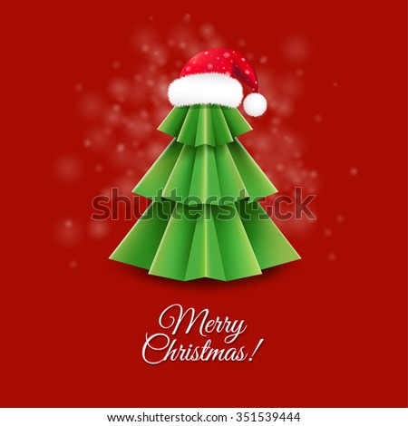 Christmas Greeting Card With Santa Claus Hat With Gradient Mesh, Vector Illustration - stock vector