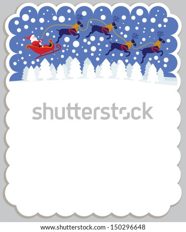 Christmas greeting card with Santa flying with reindeer in sleigh on snowy background - stock vector