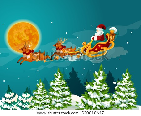 Christmas greeting card with santa sleigh. Santa Claus in sleigh with reindeer flying in the night sky over snowy forest landscape with pine and fir tree. Christmas And New Year theme design