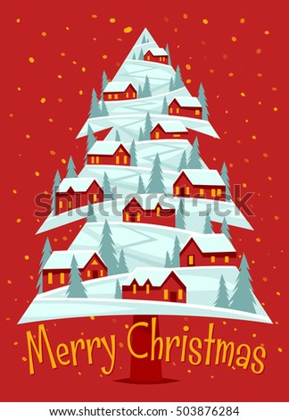 Christmas greeting card with scattering of rural red houses.