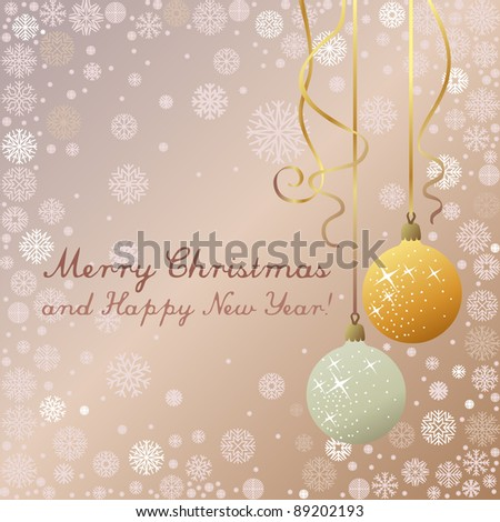 Christmas greeting card with silver and golden decoration and snowflakes