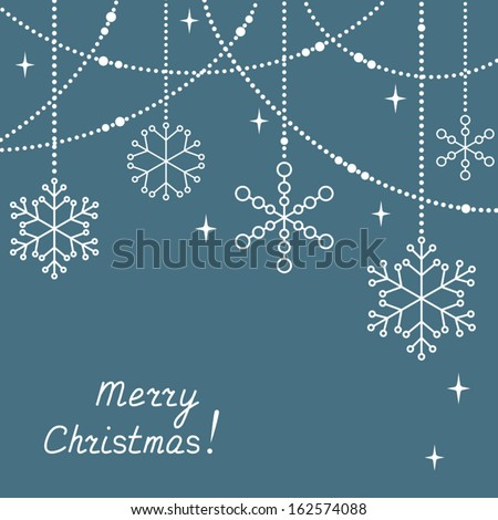Christmas greeting card with snowflakes - stock vector