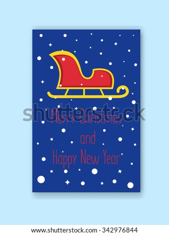 Christmas greeting card with snowy background and happy wishes. Christmas red and gold Santa's sleigh without a reindeer in flat style. - stock vector