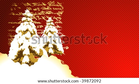 christmas greeting card with snowy landscape