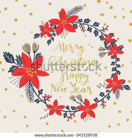 Christmas Greeting Card with stylish poinsettia flower wreath. Merry Christmas and Happy New Year lettering. Template for New 2016 Year Cards, Scrapbooking, Stickers, Planner, Invitations, Menu. - stock vector