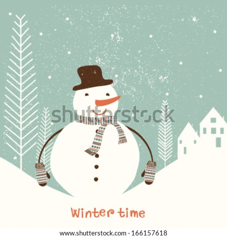 Christmas greeting card with stylized snowman. Vector - stock vector