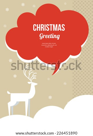 christmas greeting  card with white Christmas deer and speech bubble