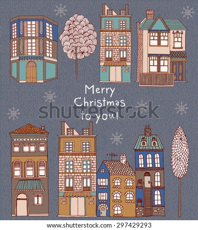 Christmas greeting card with winter landscape and snow-covered village - vector illustration