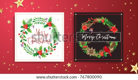 Christmas greeting card with wreath. Happy new year. Xmas vector background. Vector illustration