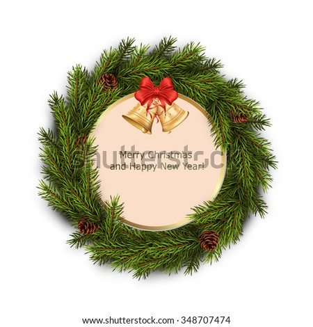 Christmas greeting card with xmas wreath on white background. Holiday decorations. Vector eps10 illustration - stock vector
