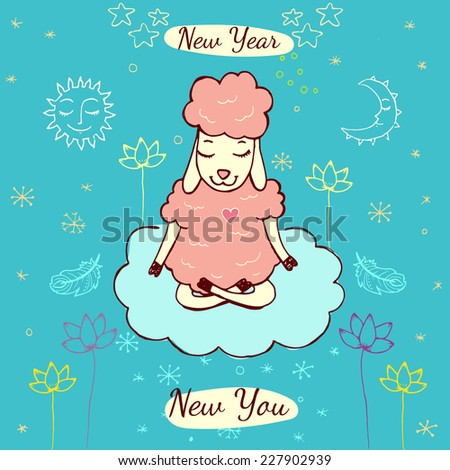 Christmas Greeting Card With Yoga Meditation Sheep Peaceful Winter Wishes