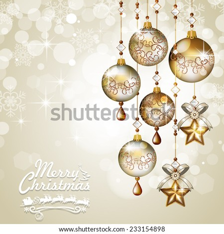 Christmas greeting cards golden balls hanging light background-Transparency blending effects and gradient mesh-EPS 10 - stock vector