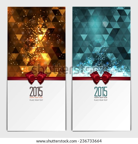 Christmas greeting cards. Place for your text message. Design in modern Christmas colors. Holiday brochure design for corporate greeting cards. vector - stock vector