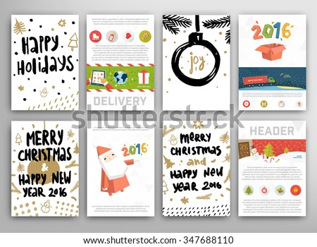 Christmas Greeting Cards Set with Calligraphy Elements. Hand Drawn Design and Handwritten Lettering. Holiday Vector Illustration for Xmas Cards. - stock vector