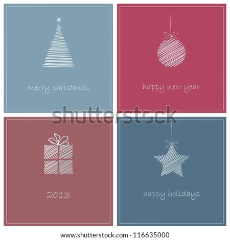 christmas greeting cards simple vector