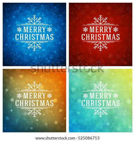 Christmas Greeting Cards Typography Design Set Lights And Snowflakes Backgrounds Vector Illustration EPS